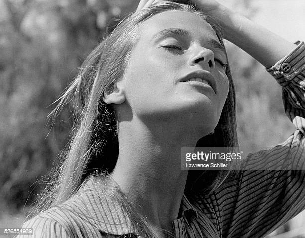 Portrait of American actress Peggy Lipton during production of the film 'Blue' Moab Utah 1967