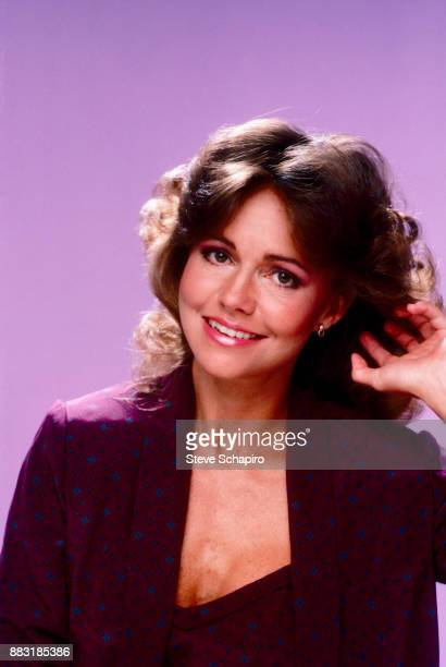 Portrait of American actress Sally Field as she poses in front of a puple background Los Angeles California 1970s