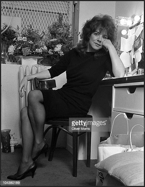 Portrait of American actress Stockard Channing as she poses in her dressing room at the Longacre Theater where sheappeared in 'A Day in the Death of...