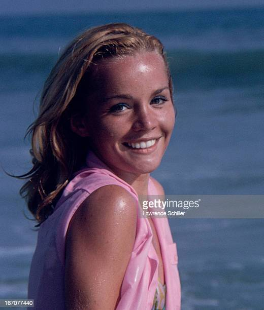 Portrait of American actress Tuesday Weld as she glaces over her shoulder on a beach Los Angeles California 1963 The picture was taken during a photo...