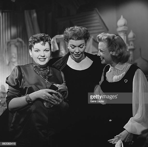 Portrait of American actresses from left Judy Garland Jane Wyman and June Allyson at the 27th Academy Award nominations event Burbank California...