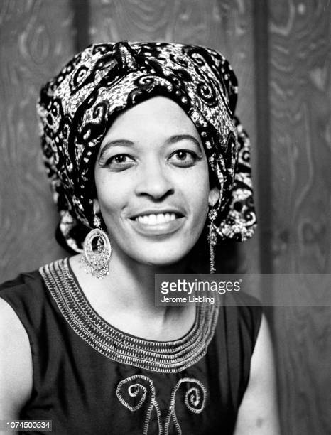 Portrait of American anthropologist and educator Johnnetta Betsch Cole, Amherst, Massachusetts, 1973. She wears a traditional African head wrap and...