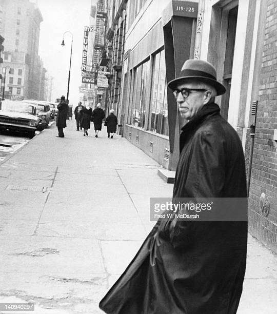Portrait of American artist and abstract expressionist Clyfford Still as he stands on West 24th Street New York New York February 25 1961