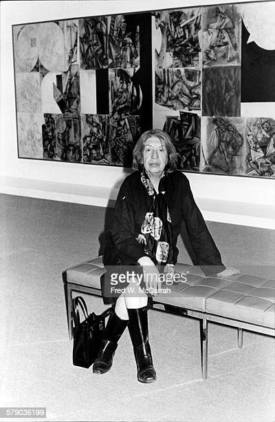 Portrait of American artist Lee Krasner as she poses at an exhibit of her work at the Pace Gallery New York New York February 24 1977