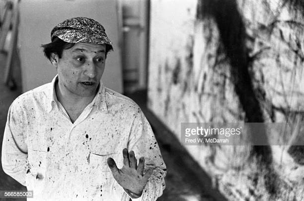 Portrait of American artist Norman Bluhm in his studio New York New York February 22 1961