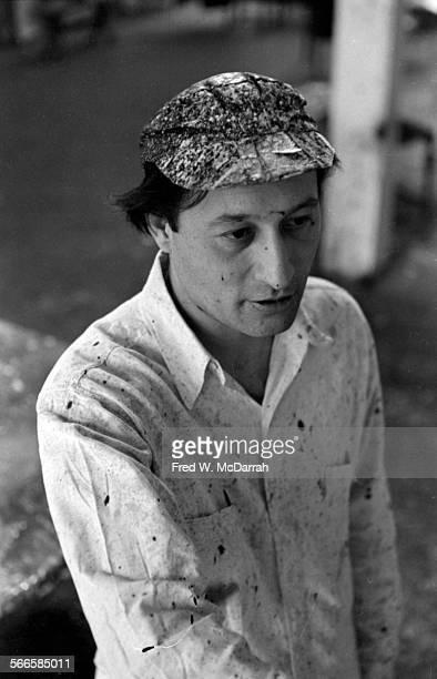 Portrait of American artist Norman Bluhm in his studio New York New York February 22 1961