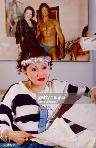 Portrait of American astrologer and tv personality Jacqueline 'Jackie' Stallone as she sits on a couch in her home Los Angeles California 1988 Behind...