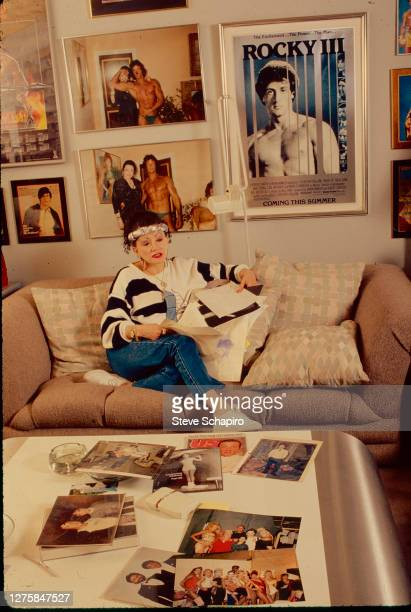 Portrait of American astrologer and tv personality Jacqueline 'Jackie' Stallone as she sits on a couch in her home Los Angeles California 1988 All...