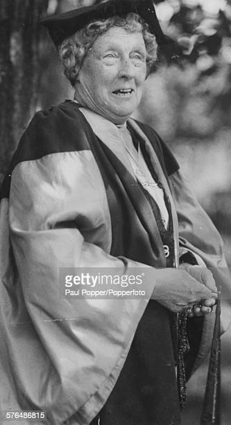 Portrait of American astronomer Annie Jump Cannon wearing cap and gown as she receives an honorary degree from Oxford University England 1935