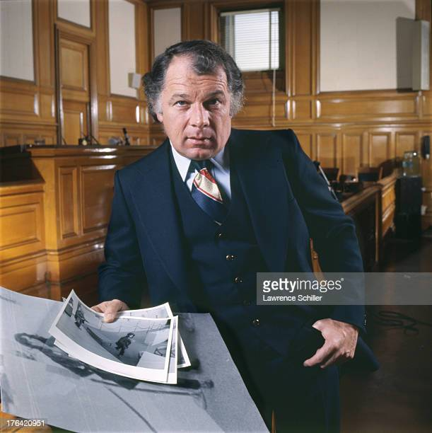 Portrait of American attorney F Lee Bailey as he poses in a courtroom San Francisco California 1976 At the time Bailey was serving as the lead...