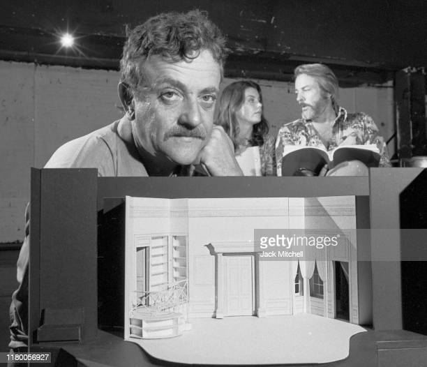 Portrait of American author and playwright Kurt Vonnegut Jr as he poses during rehearsals for his OffBroadway play 'Happy Birthday Wanda June' on...