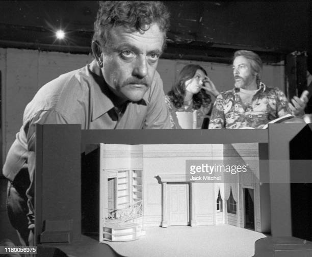 Portrait of American author and playwright Kurt Vonnegut Jr as he poses, during rehearsals for his Off-Broadway play, 'Happy Birthday, Wanda June' ,...