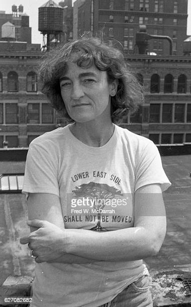 Portrait of American author critic and historian Lucy R Lippard as she poses on a Manhattan rooftop New York New York April 27 1993