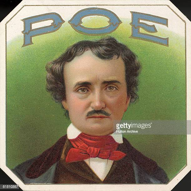 Portrait of American author Edgar Allan Poe against a green background and under an embossed presentation of his last name probably taken from a...