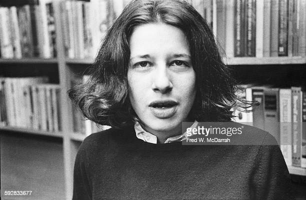 Portrait of American author Fran Lebowitz as she poses in her publisher's office New York New York March 23 1978