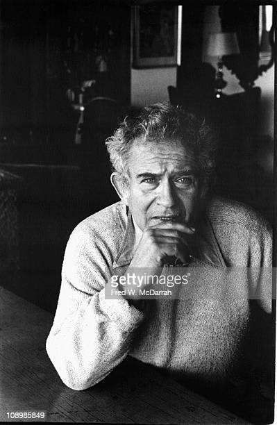 Portrait of American author Norman Mailer in his home New York New York January 5 1978