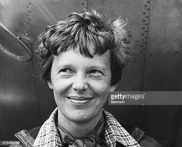 Portrait of American aviatrix Amelia Earhart , made before her intended trip around the world.