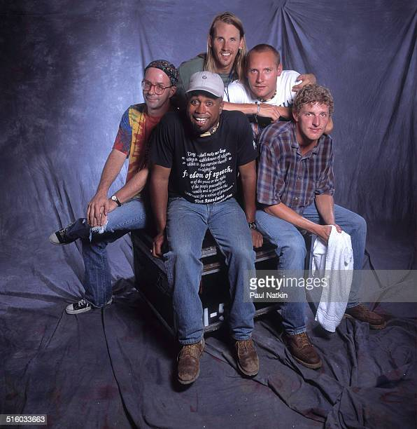 Portrait of American band Hootie and the Blowfish as they pose at Farm Aid Louisville Kentucky October 1 1995 Pictured are clockwise from left Peter...