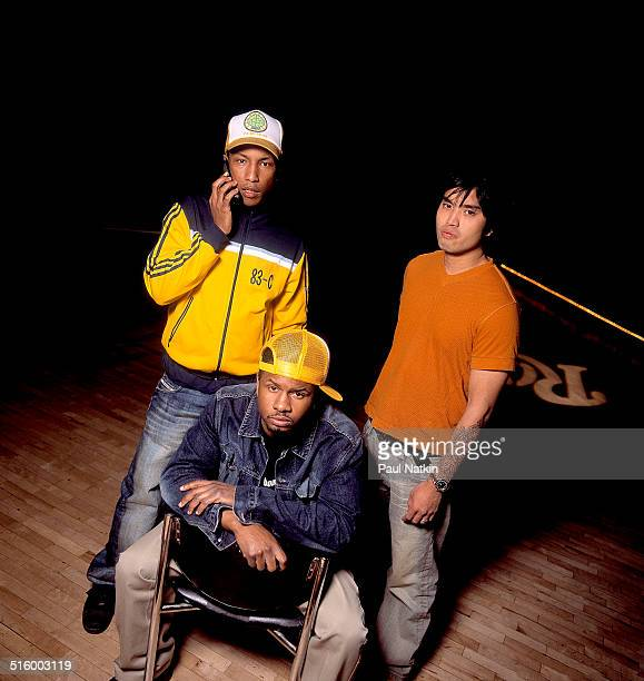 Portrait of American band NERD Chicago Illinois August 30 2002 Pictured are from left Pharrell Williams Shay Haley and Chad Hugo