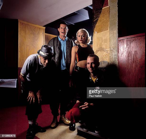 Portrait of American band No Doubt as they pose backstage at the Metro nightclub, Chicago, Illinois, August 9, 1996. Pictured are, from left, Tony...