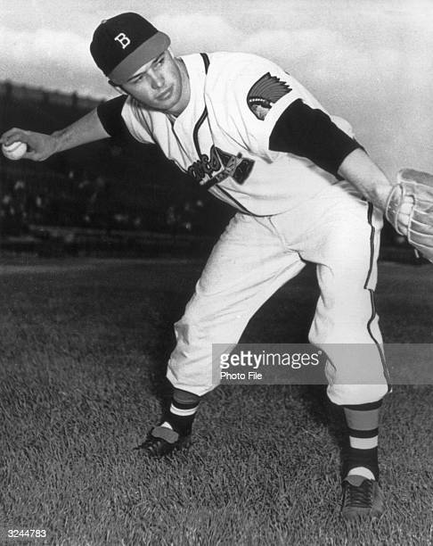Portrait of American baseball player Eddie Mathews thirdbaseman and slugger for the Boston Braves poised to throw a ball