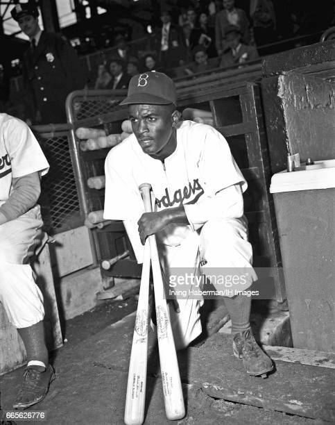 Portrait of American baseball player Jackie Robinson of the Brooklyn Dodgers as he kneels with a pair of bats during the season opener at Ebbets...