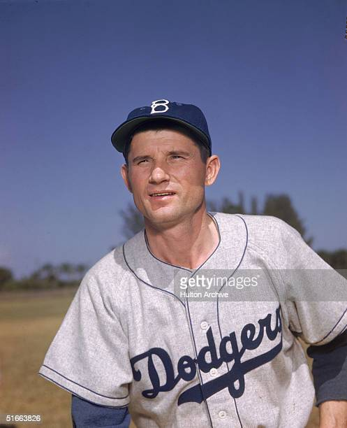Portrait of American baseball player Preacher Roe in the uniform of the Brooklyn Dodgers late 1940s