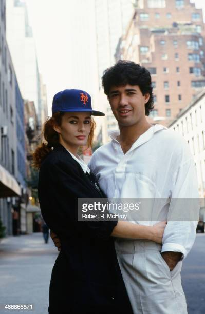 Portrait of American baseball player Ron Darling a pitcher for the New York Mets as he poses with his wife model and actress Toni Darling New York...
