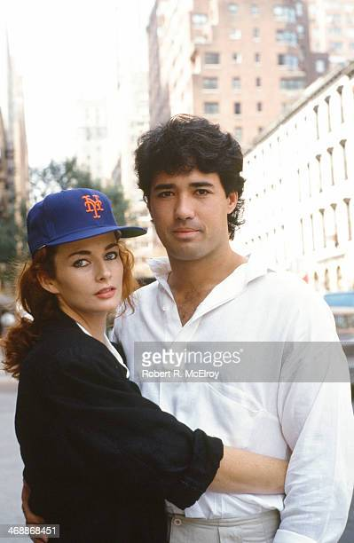 Portrait of American baseball player Ron Darling, a pitcher for the New York Mets, as he poses with his wife, model and actress Toni Darling , New...
