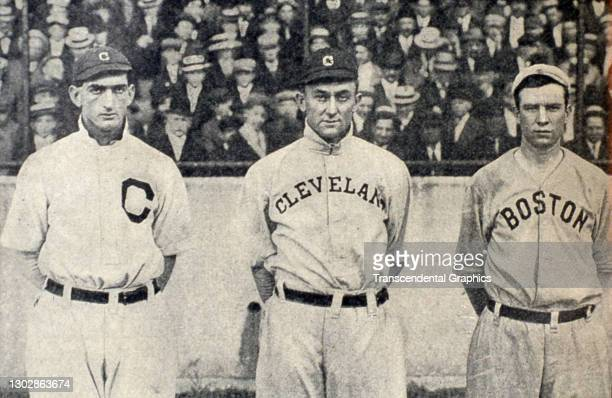 Portrait of American baseball players, from left, Joe Jackson, Ty Cobb, and Tris Speaker, as they pose together in League Park, Cleveland, Ohio, 1911.