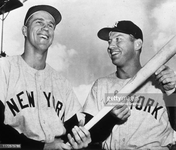 Portrait of American baseball players Tony Kubek and Mickey Mantle both of the New York Yankees before a game 1957