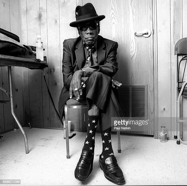 Portrait of American Blues musician John Lee Hooker at the Arlington Park Race Track Arlington Heights Illinois June 25 1998