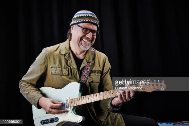 Portrait of American blues rock guitarist Greg Koch, photographed in Bath, England, on November 7, 2019.