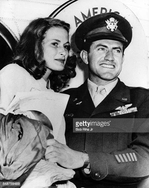 Portrait of American bombardier Lt Louis Zamperini and his fiance, Cynthia Applewhite, mid 1940s. The couple married in 1946.