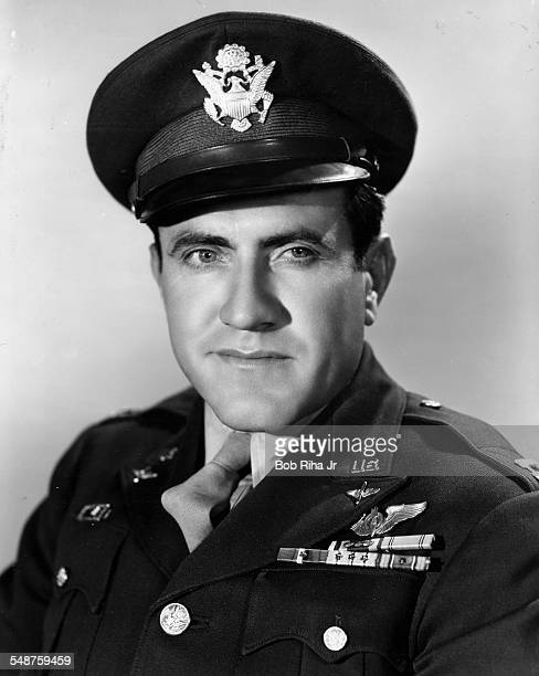 Portrait of American bombardier Lt Louis Zamperini as he poses in uniform early 1940s