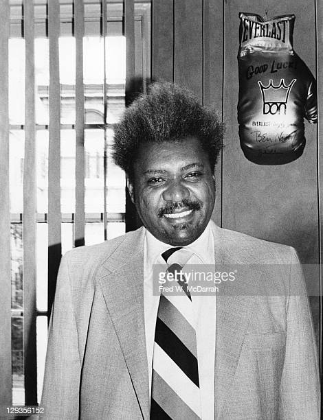 Portrait of American boxing promotor and businessman Don King as he poses in his 36th Street office New York New York June 14 1979