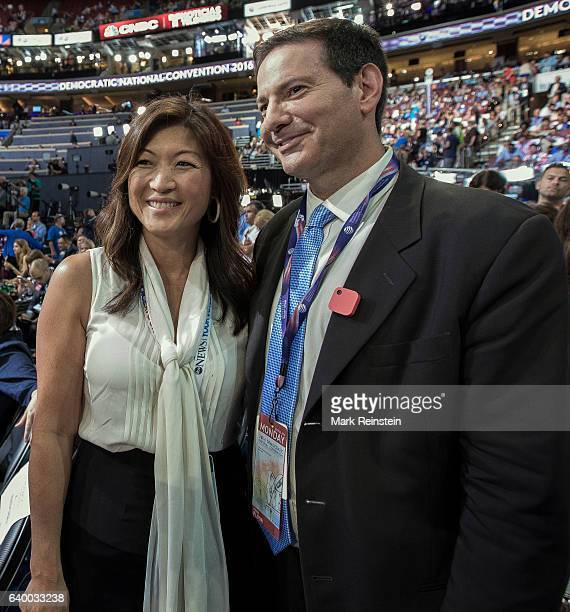 Portrait of American broadcast journalists Juju Chang of ABC News and Mark Halperin of Bloomberg television on the floor of the Democratic National...