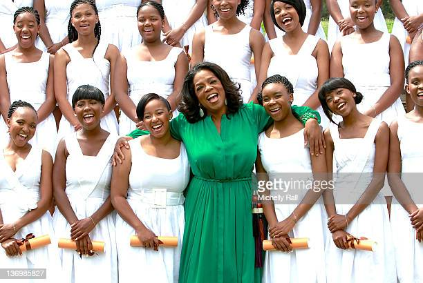 Oprah Winfrey poses with the Graduates at the inaugural graduation of the class of 2011 at Oprah Winfrey Leadership Academy for Girls on January 14...