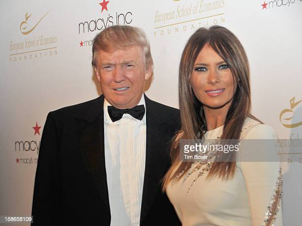 Portrait of American businessman and television personality Donald Trump and his wife Slovenian former model Melania as they attend a dinner for the...