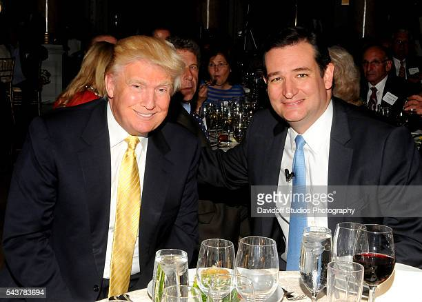 Portrait of American businessman Donald Trump and politician Senator Ted Cruz during a dinner at the MaraLago estate Palm Beach Florida February 22...