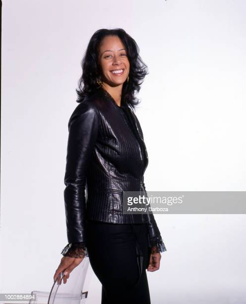 Portrait of American businessperson and Sony Urban Music general manager Lisa Ellis as she poses in front of a white background New York New York 2005