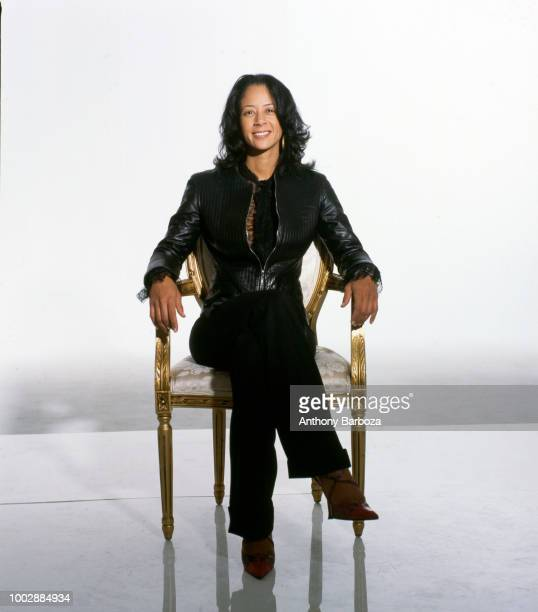 Portrait of American businessperson and Sony Urban Music general manager Lisa Ellis as she sits in a chair in front of a white background New York...