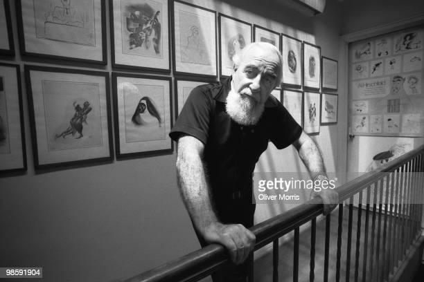Portrait of American caricaturist Albert Hirschfeld as he poses in his East 95th Street studio New York New York 1985