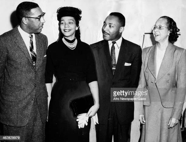 Portrait of American Civil Rights and religious leaders Dr Samuel DeWitt Proctor of Virginia Union University and Dr Martin Luther King Jr along with...