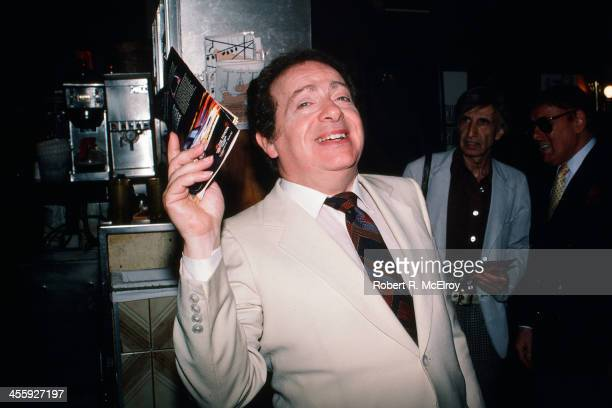 Portrait of American comedian and actor Jackie Mason as he poses at the Carnegie Deli, New York, New York, 1987.