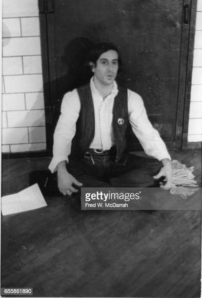Portrait of American composer Steve Reich as he sits crosslegged on the floor at the 69th Regiment Armory during the 8th Avant Garde Festival New...
