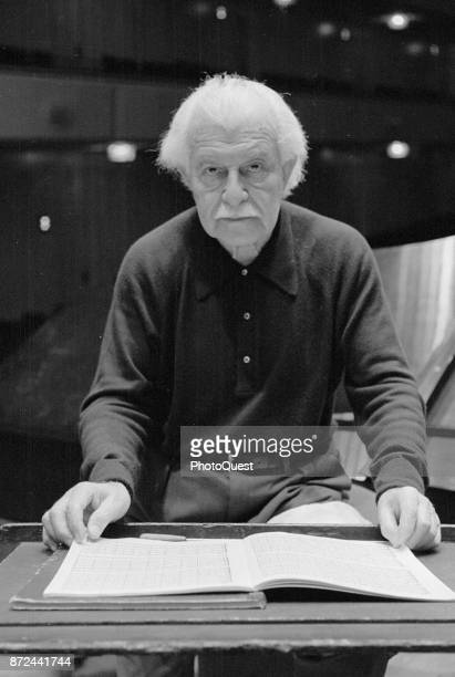Portrait of American conductor Arthur Fiedler as he poses with an open book of sheet music at the Kennedy Center Washington DC January 21 1977
