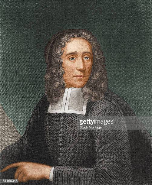 Portrait of American Congregational minister author and educator Increase Mather who was instrumental in ending the practice of executing persons...