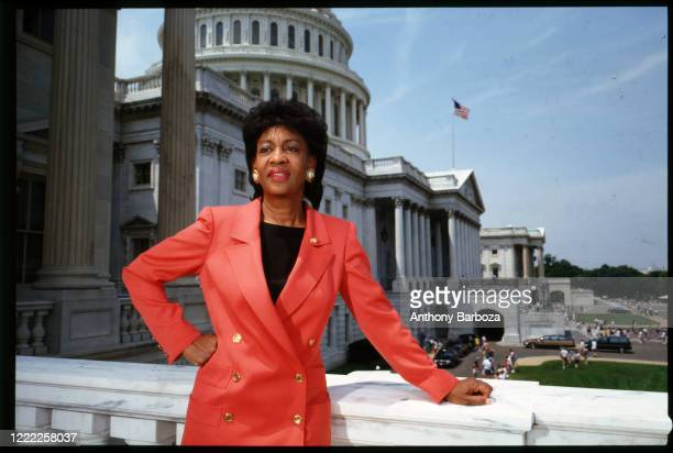 Portrait of American Congresswoman Maxine Waters as she poses outside the US Capitol Building, Washington DC, 1990s.