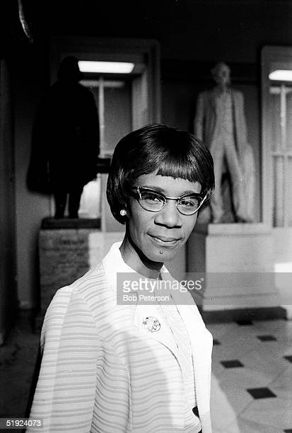 Portrait of American Congresswoman Shirley Chisholm as she stands in rotunda of House of Representatives Washington DC 1970